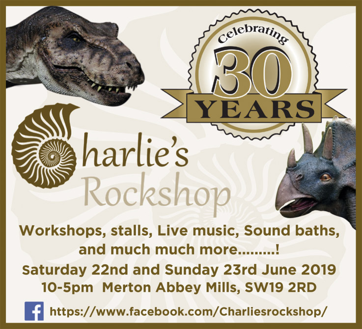 Charlie's Rockshop Celebrating 30 years   Workshops, stalls, Live music, Sound baths, and much much more.........! Saturday 22nd and Sunday 23rd June 2019 10-5pm Merton Abbey Mills  SW19 2RD https://www.facebook.com/Charliesrockshop/
