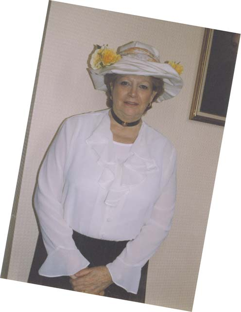 Jill Harland in period dress celebrating the Hydesville Sesquicentenary at Stansted Hall, 28th March 1998 –Click to enlarge picture