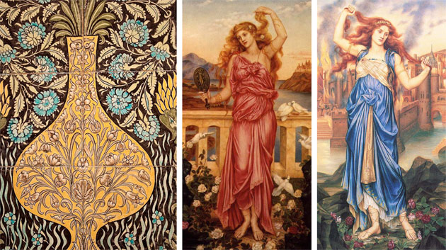 L-R: William De Morgan (c. 1890), Sands End Pottery: 