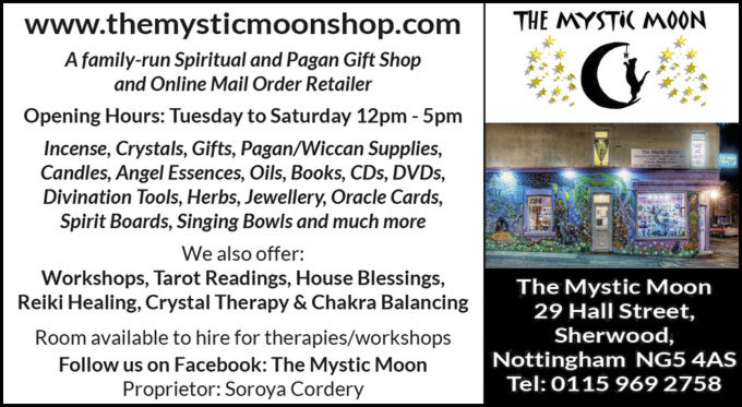 The Mystic Moon – www.themysticmoonshop.com – 29 Hall Street, Sherwood,  Nottingham  NG5 4AS – Telephone: 0115 969 2758