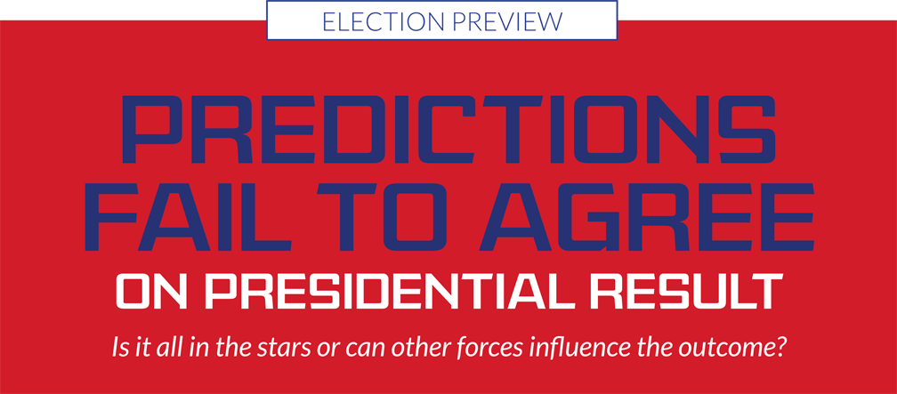 Predictions fail to agree on presidential result – Is it all in the stars or can other forces influence the outcome?