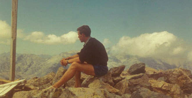 The last photo of Roger, sitting on rocks in Corsica shortly before his tragic accident.